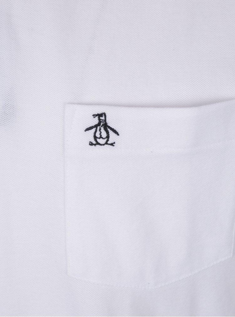 Bílé slim fit polo tričko s náprsní kapsou Original Penguin The Earl