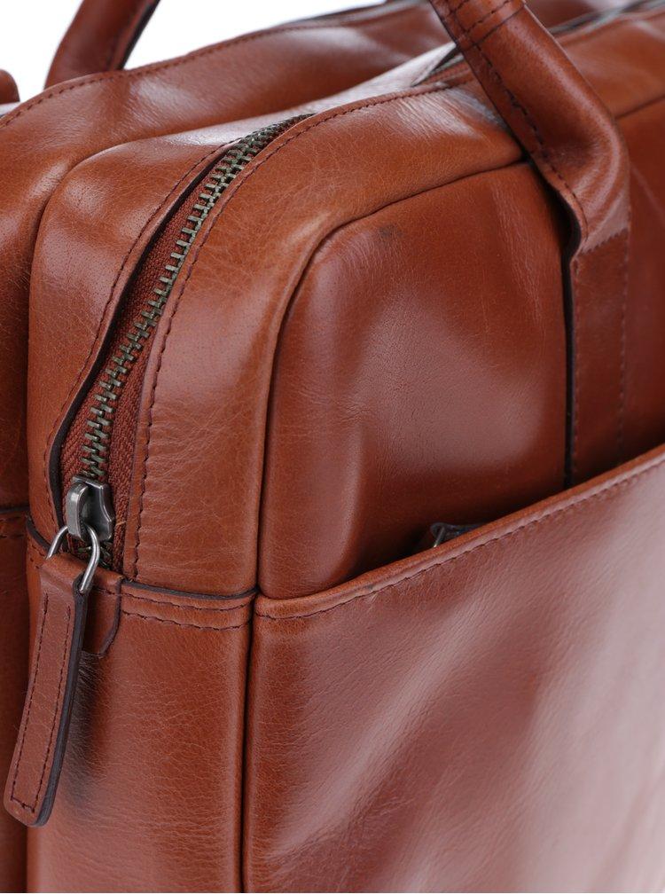 Hnědá velká pánská kožená taška na notebook Royal RepubliQ
