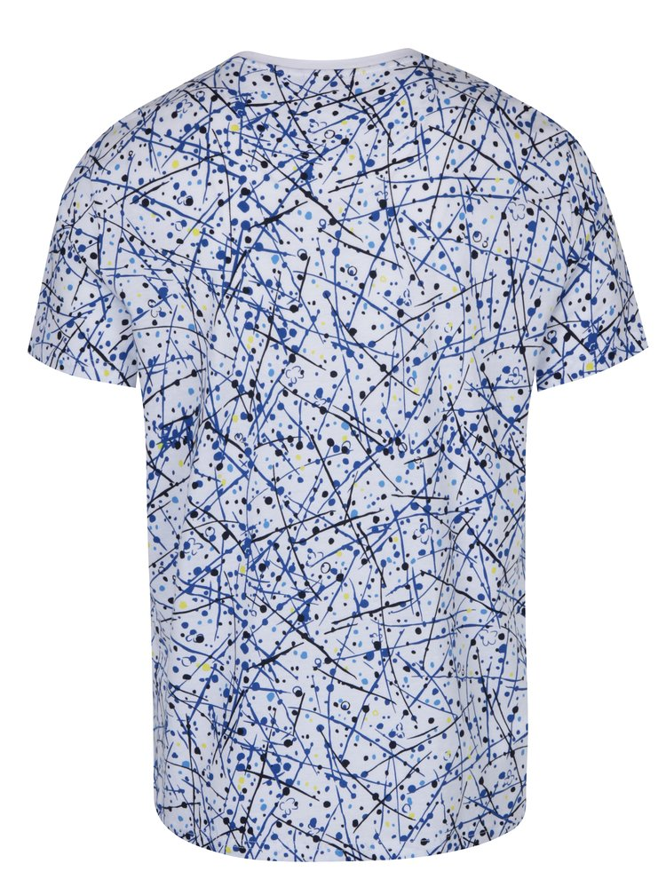 Tricou alb cu imprimeu albastru Original Penguin Allover Splatter