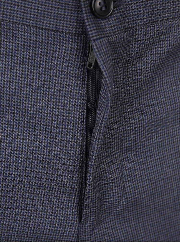Šedomodré vzorované kalhoty Selected Homme Skinny