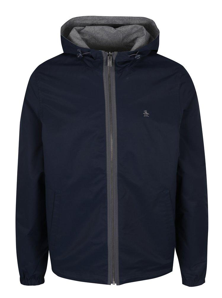 Šedo-modrá oboustranná voděodolná bunda s kapucí Original Penguin Reversible