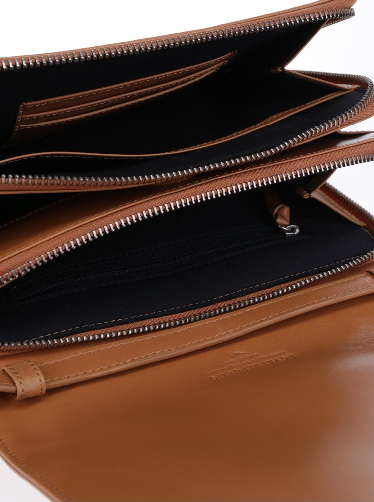 Světle hnědá kožená crossbody kabelka Royal RepubliQ