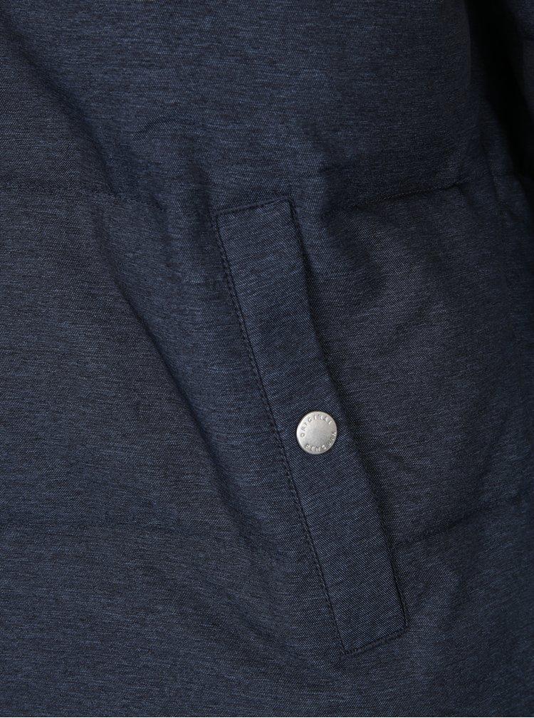 Tmavě modrá žíhaná prošívaná bunda s kapucí Original Penguin Insulated