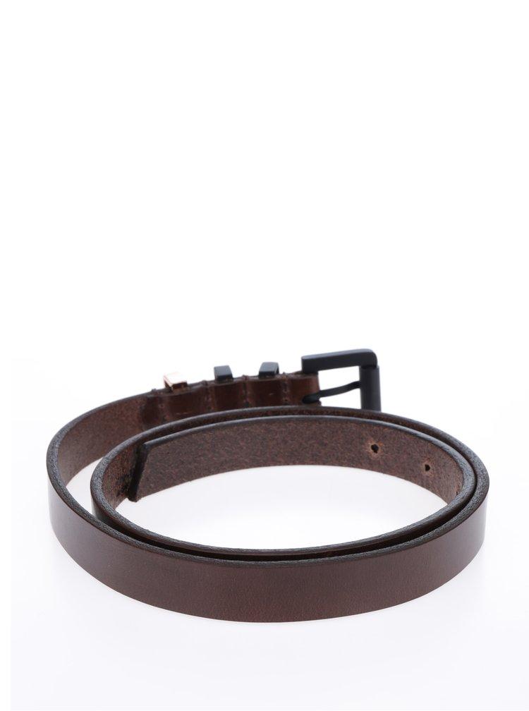 Tmavě hnědý dámský tenký kožený pásek Royal RepubliQ