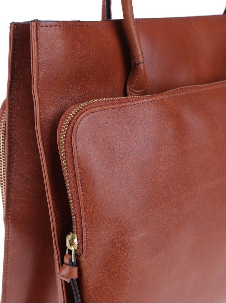 Hnědá kožená velká kabelka Royal RepubliQ