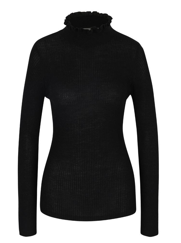 Pulover negru cu guler înalt Selected Femme Costa