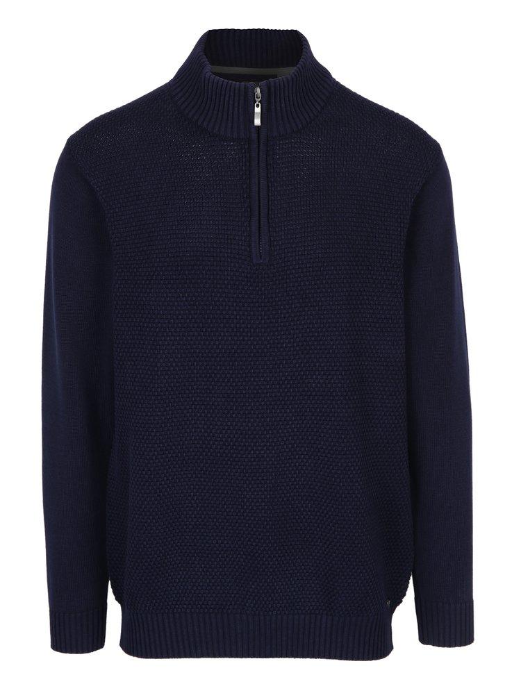 Tmavě modrý pánský svetr se zipem JP 1880