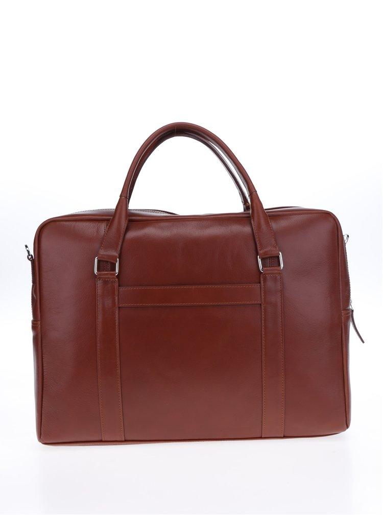 Hnědá dámská kožená taška na notebook Royal RepubliQ