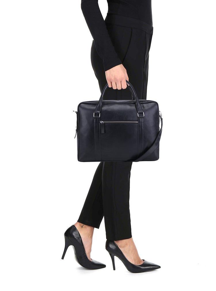 Geantă notebook neagră din piele naturală pentru femei - Royal RepubliQ