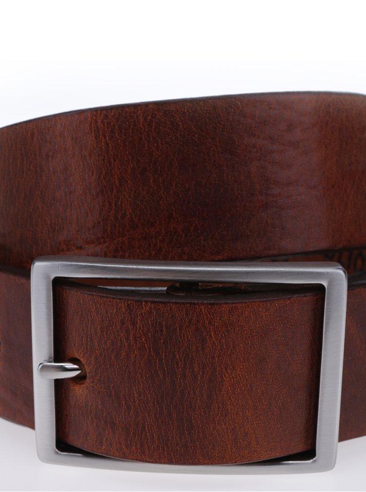 Hnědý pánský kožený pásek se sponou Royal RepubliQ
