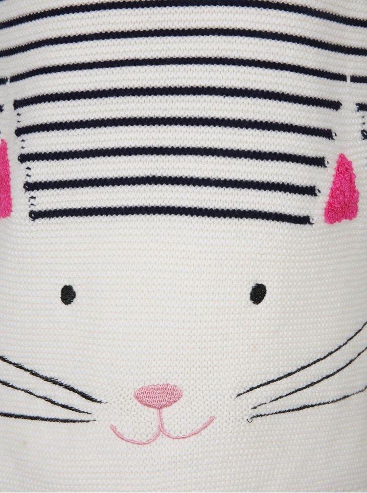 Krémový holčičí pruhovaný svetr s motivem kočky a knoflíky na zádech Tom Joule Winnie