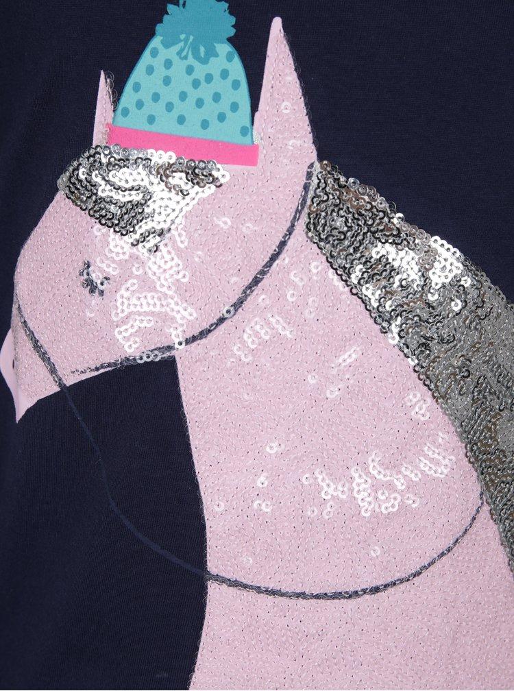 Tmavě modré holčičí tričko motivem koně z flitrů Tom Joule Ava Luxe