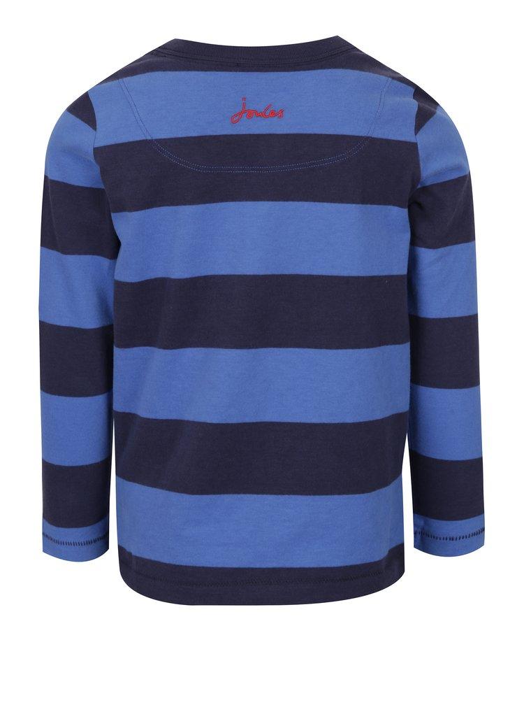 Modré klučičí pruhované tričko s nášivkou medvěda Tom Joule Chomp