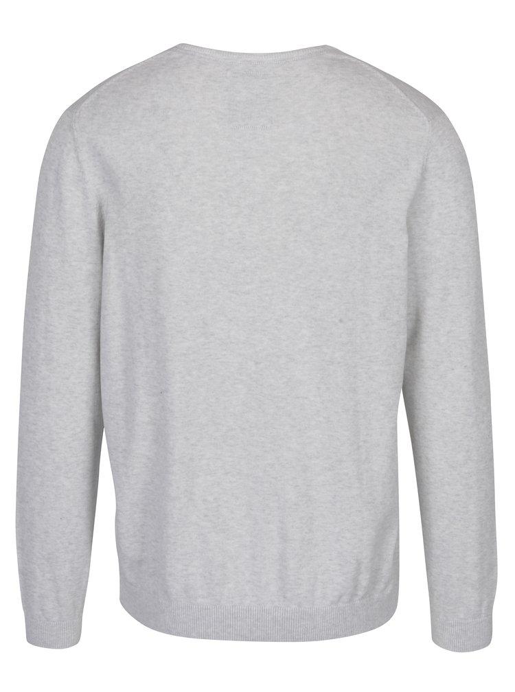 Svetlosivý pánsky sveter s véčkovým výstrihom s.Oliver