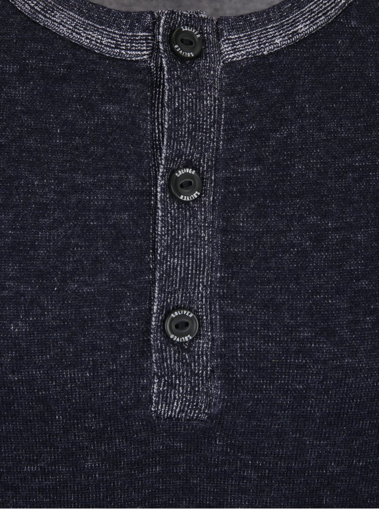 Tmavě modrý žíhaný pánský svetr s knoflíky s.Oliver