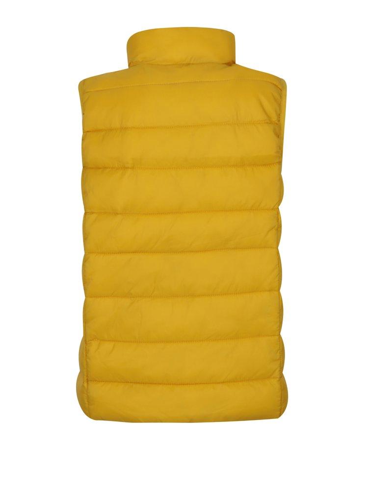 Žltá chlapčenská funkčná prešívaná vesta s vreckami Tom Joule