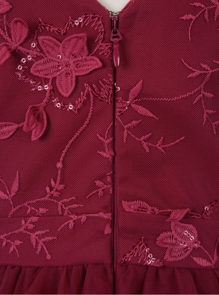 Rochie roz inchis cu aplicatii din dantela - Chi Chi London