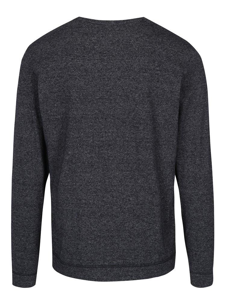 Tmavě šedé pánské žíhané triko s dlouhým rukávem s.Oliver