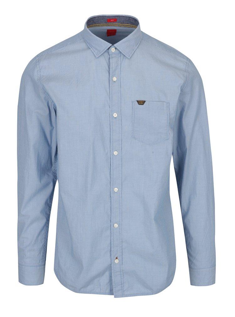 Světle modrá pruhovaná pánská slim košile s.Oliver