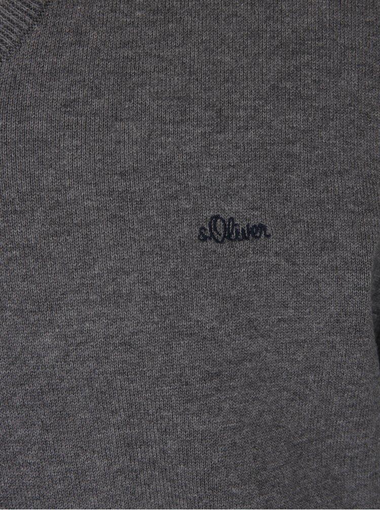Pulover gri melanj cu logo brodat - s. Oliver
