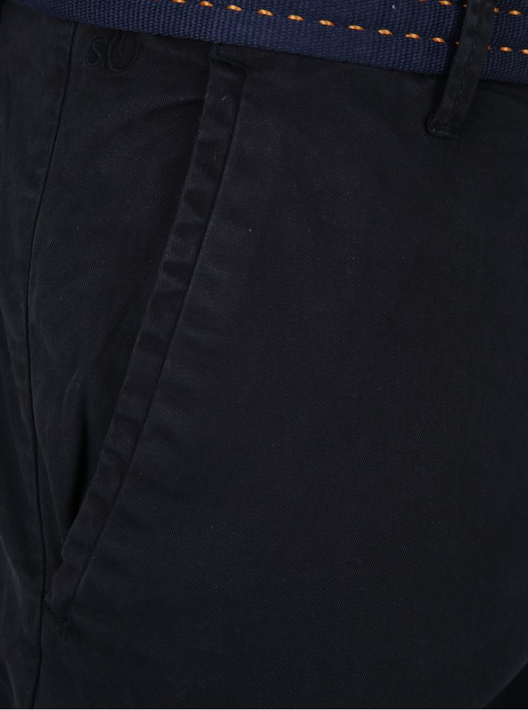 Černé pánské slim fit kalhoty s páskem s.Oliver