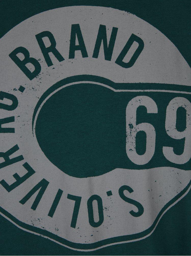 Tricou verde inchis cu logo print s.Oliver