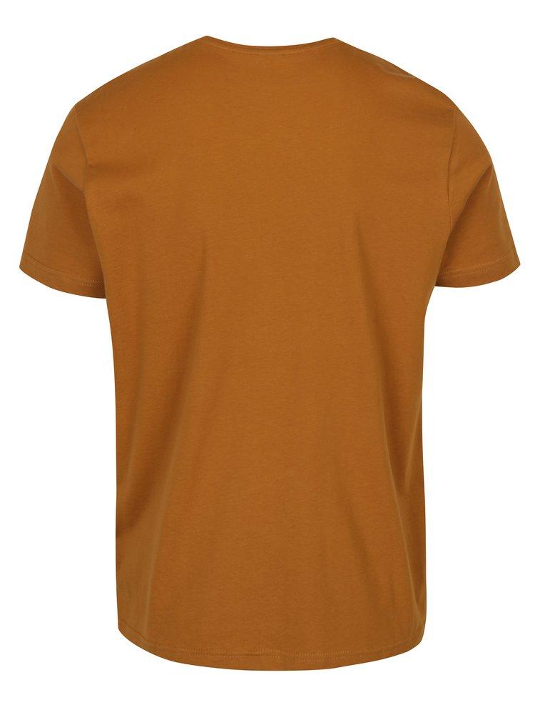 Světle hnědé pánské triko s potiskem s.Oliver