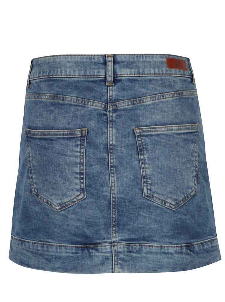 Modrá džínová minisukně s knoflíky s.Oliver