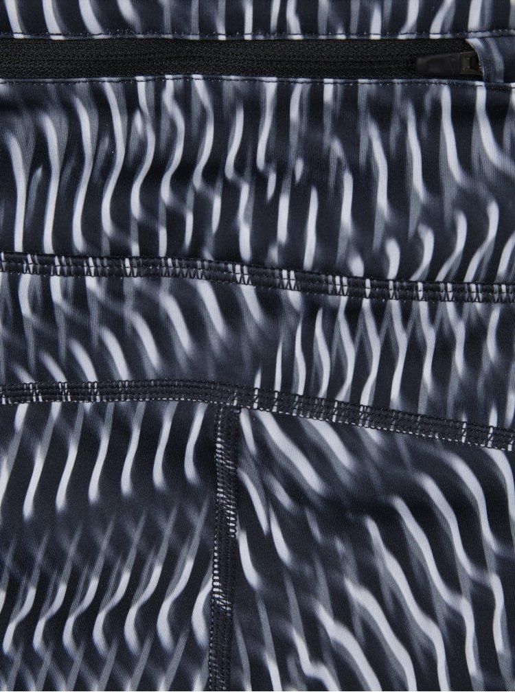 Tmavě šedé dámské vzorované funkční 3/4 legíny Nike