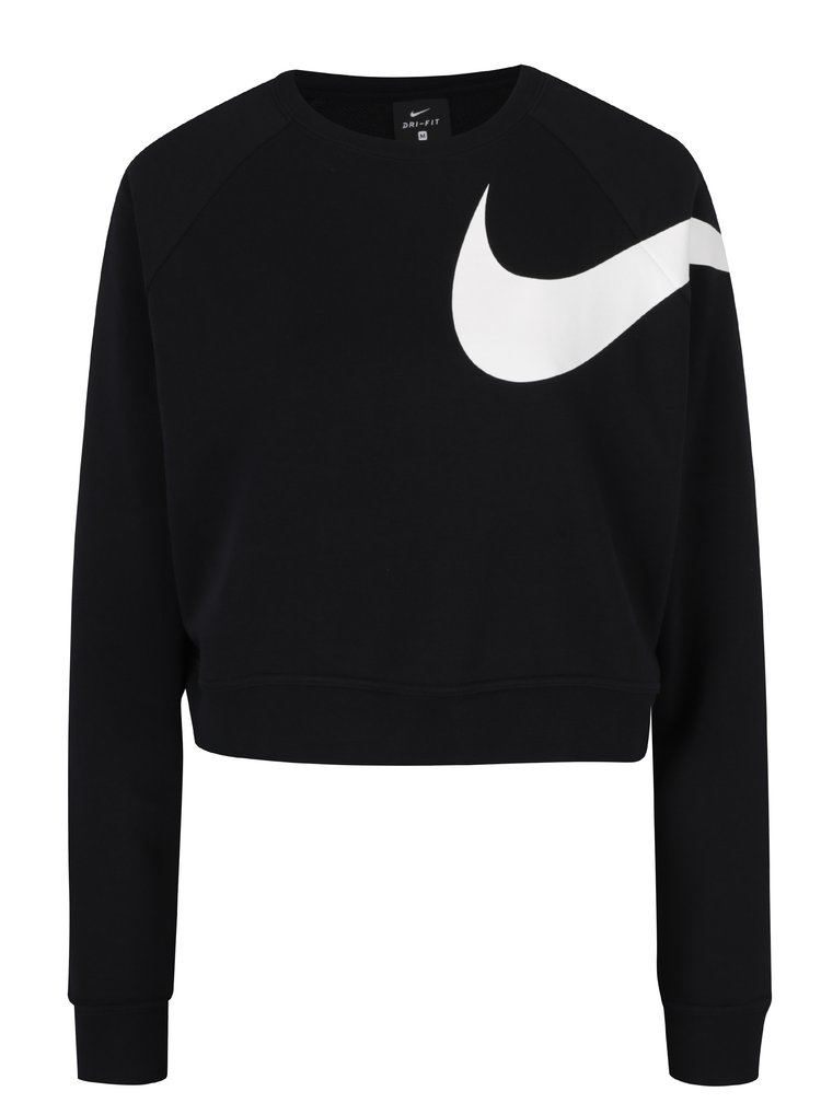 Bluza neagra crop cu logo Nike
