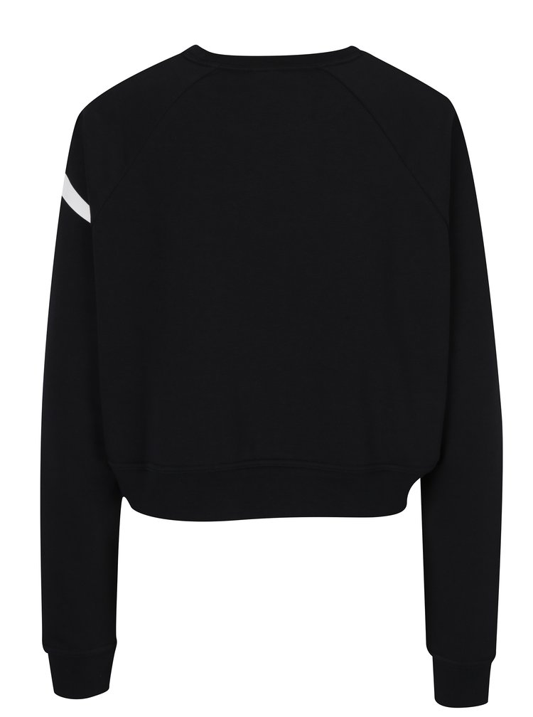 Bluză neagră crop cu logo Nike