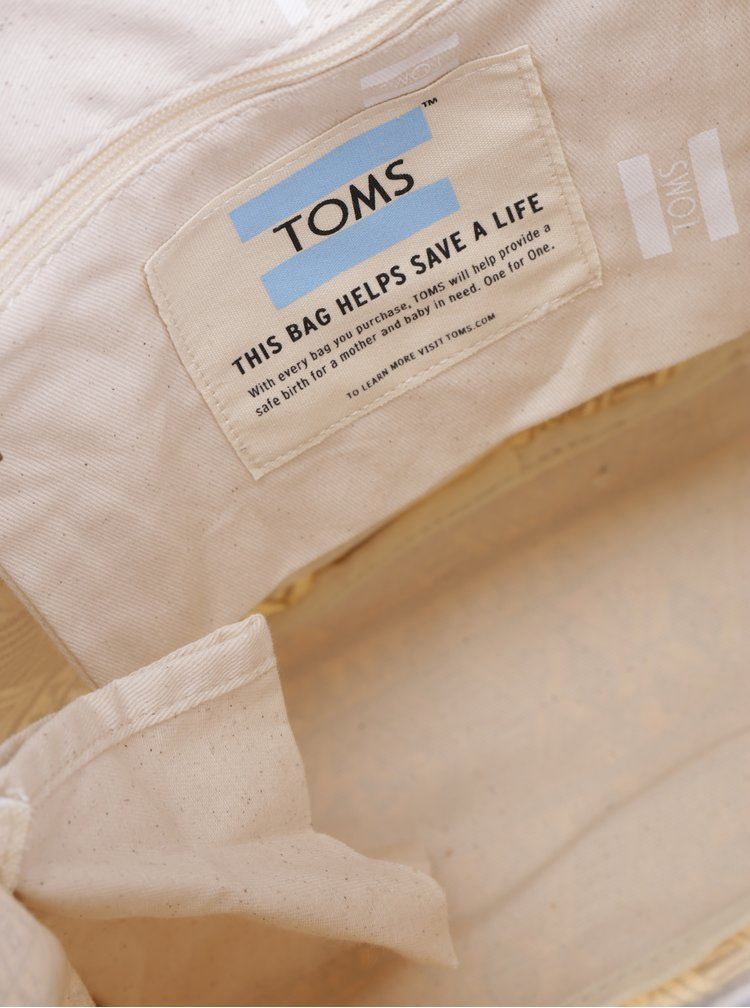 Rucsac bej cu print etno pentru femei TOMS