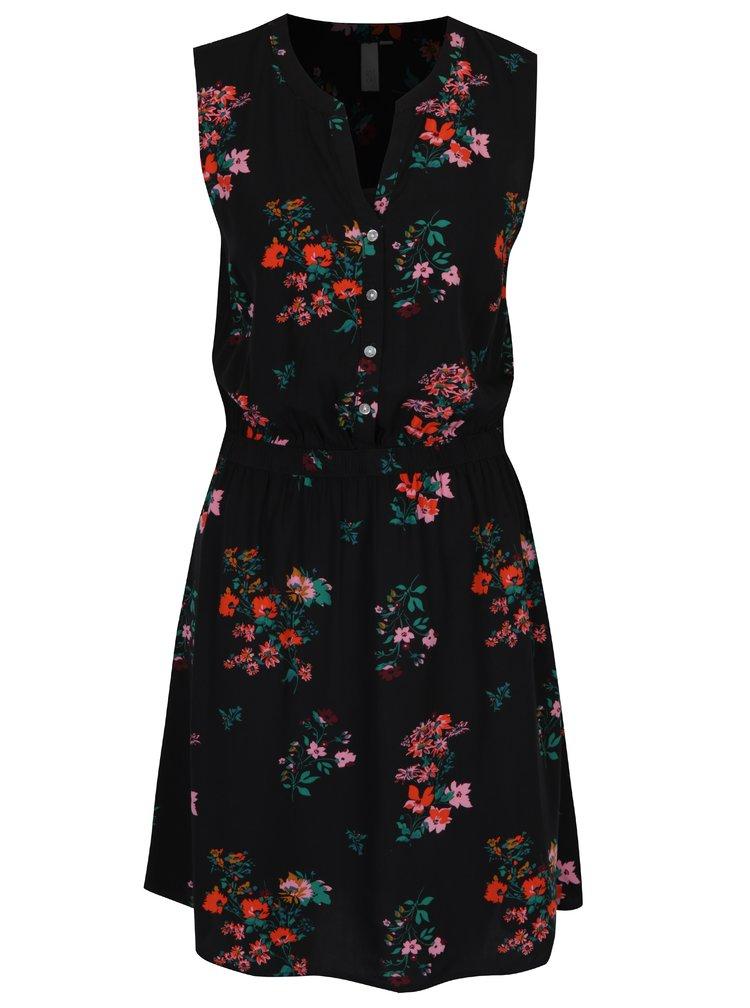 Černé květované šaty bez rukávů s.Oliver