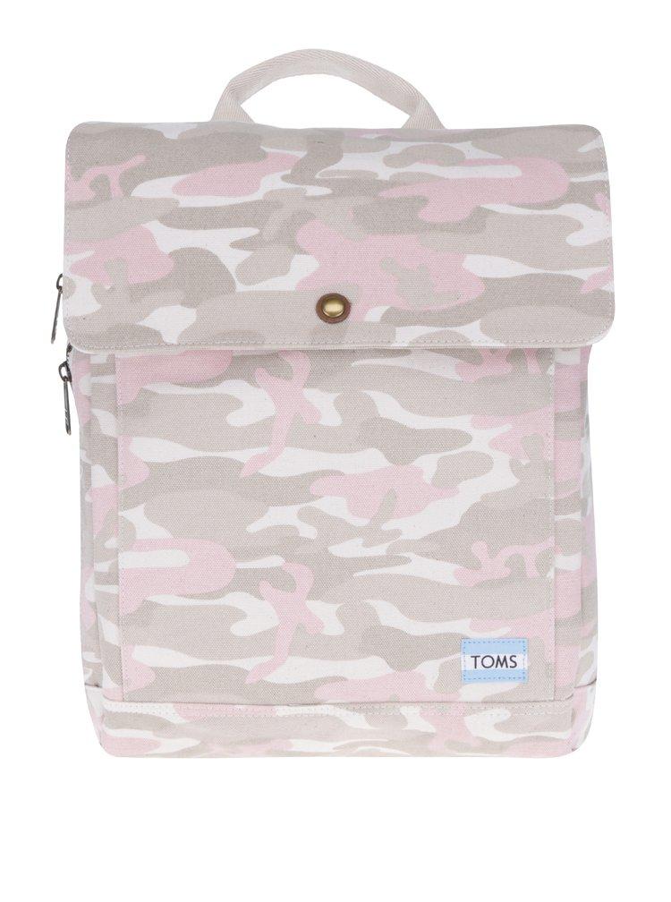 Béžový dámský maskáčový batoh na notebook TOMS