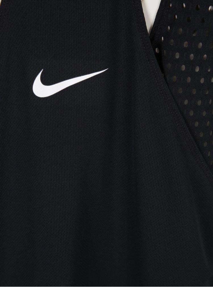 Čierne dámske funkčné tielko so sieťovanou vnútornou časťou Nike