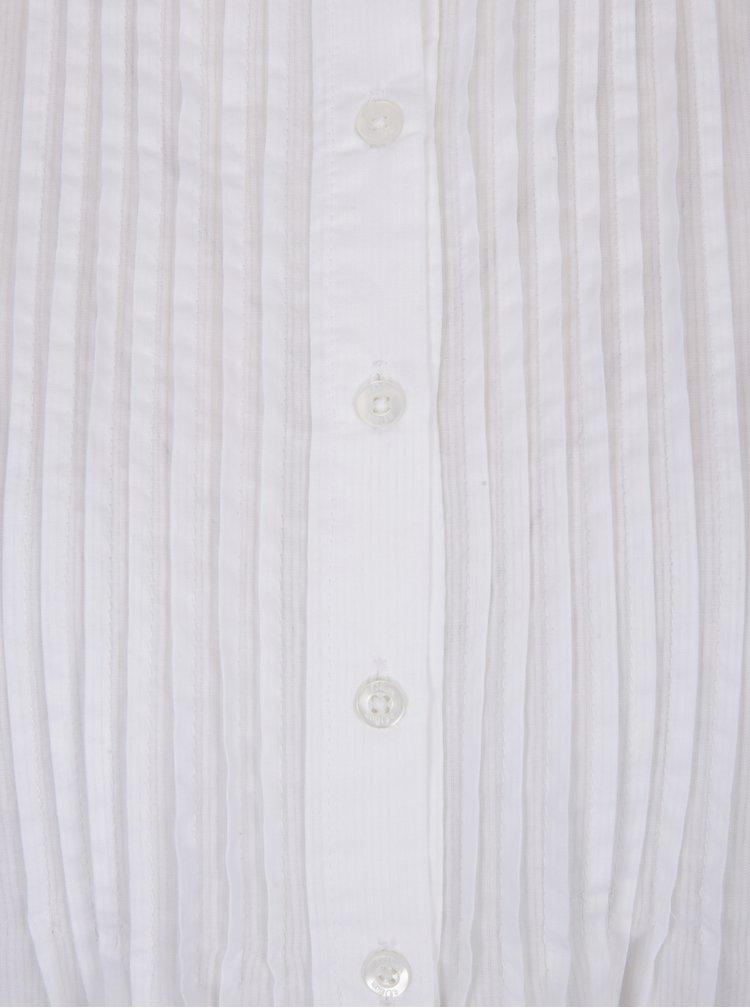 Biela dámska košeľa s rebrovanými detailmi s.Oliver