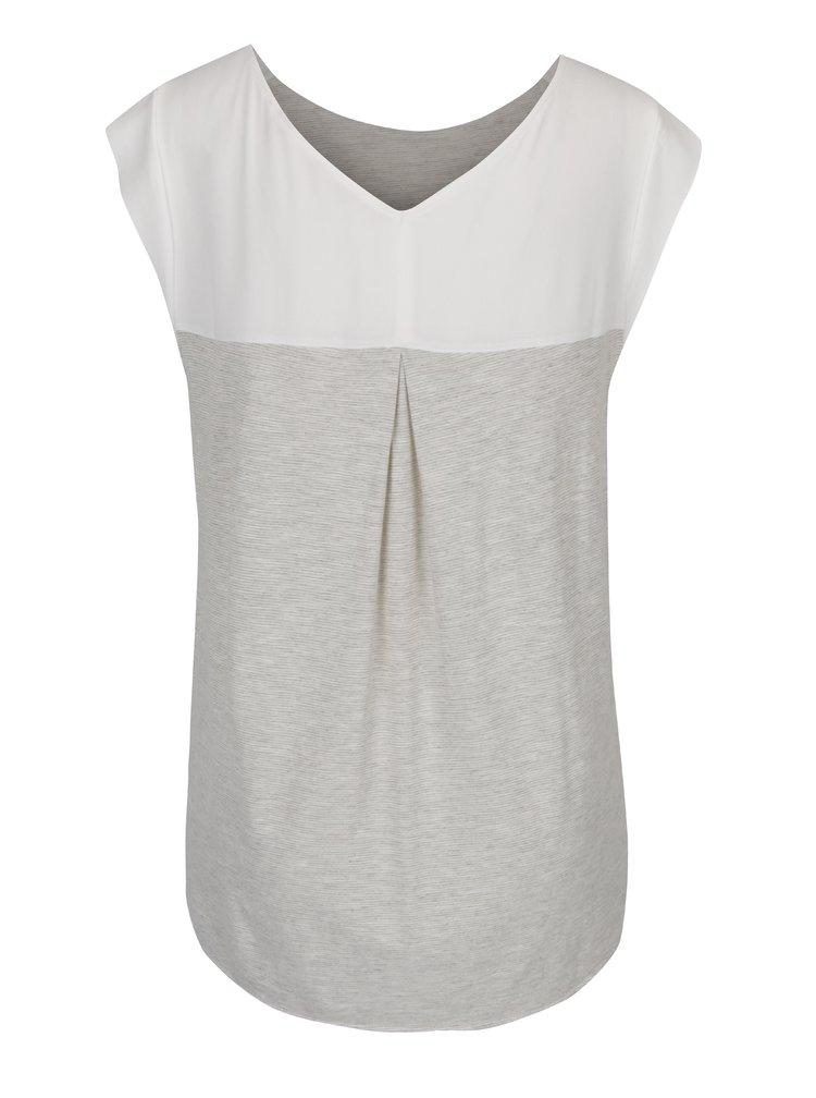 Šedé dámské žíhané tričko s potiskem a flitry s.Oliver