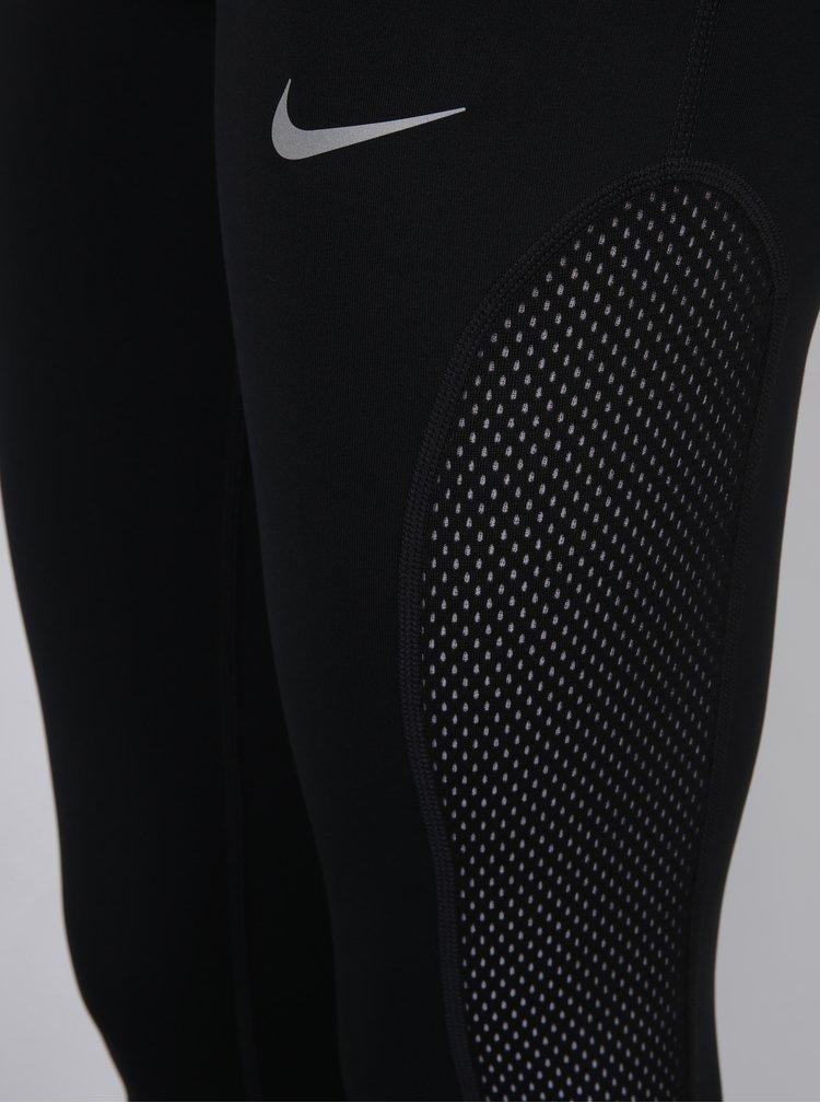 Černé dámské funkční legíny se síťovanými detaily Nike