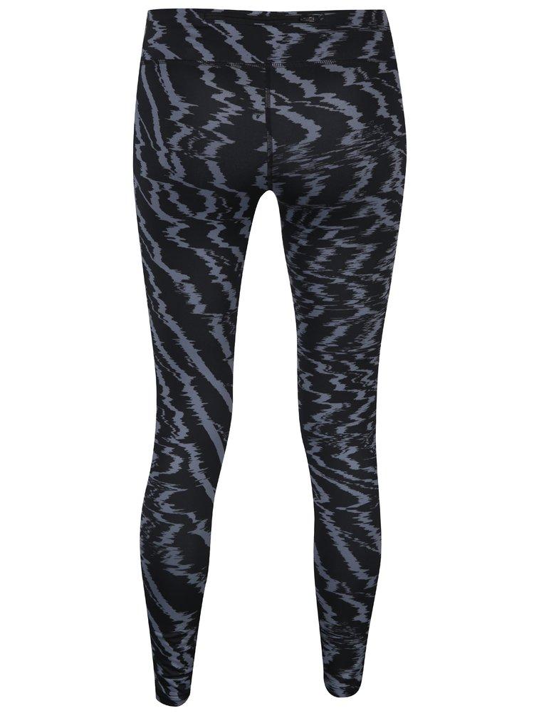 Šedo-černé dámské vzorované funkční legíny Nike