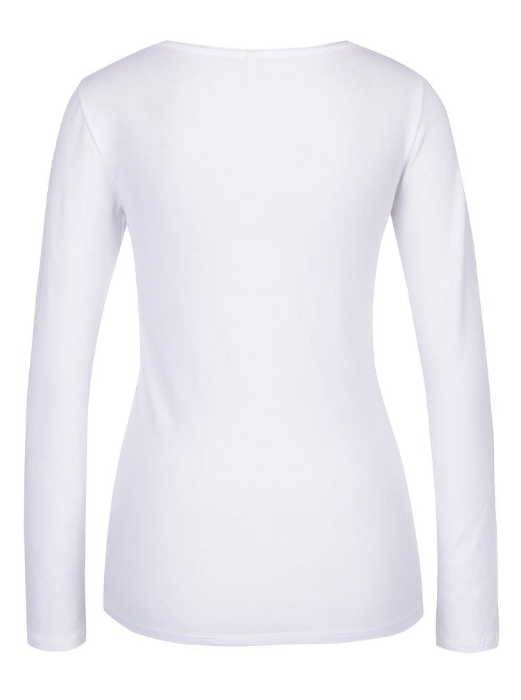Bílé basic tričko s dlouhým rukávem ONLY Live