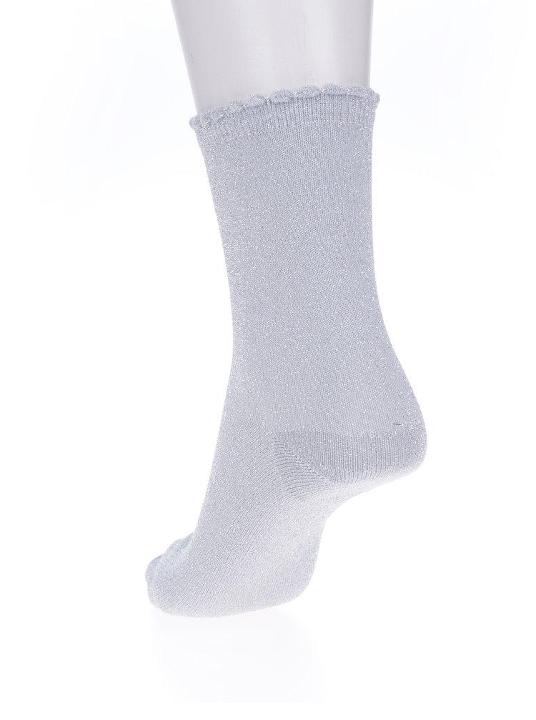 Světle šedé třpytivé ponožky Pieces Sebby