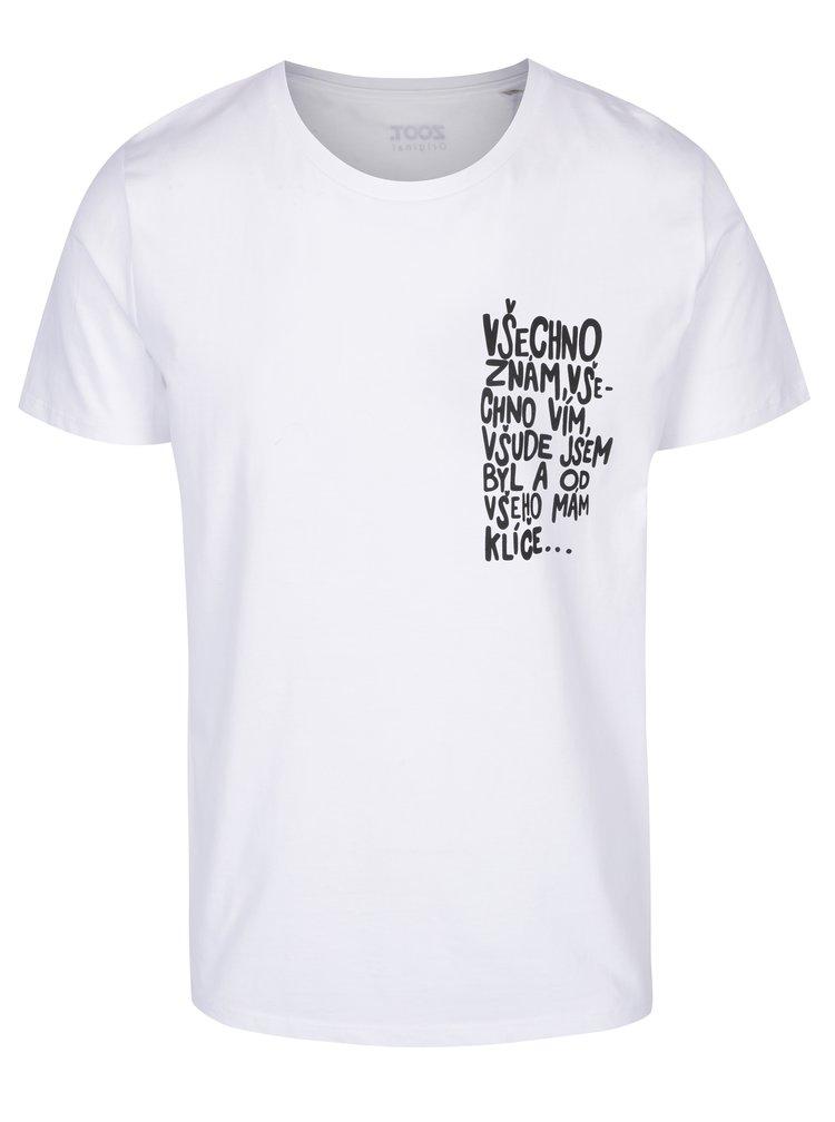 Bílé pánské tričko ZOOT Originál Všechno znám