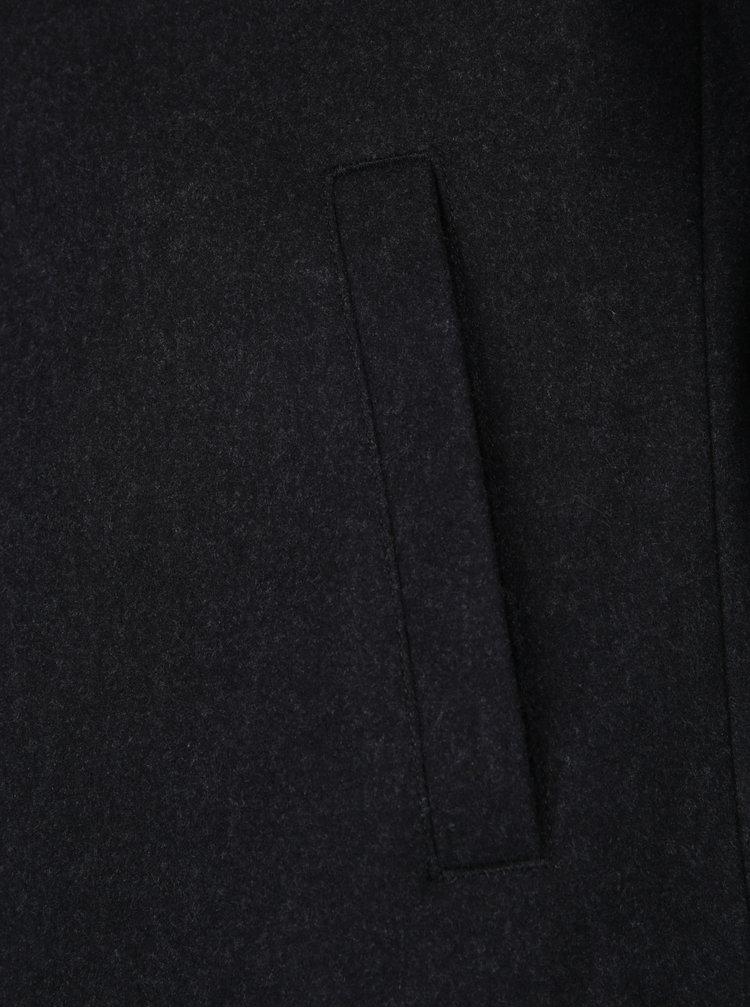 Palton gri inchis cu revere si amestec de lana - Farah Portobello