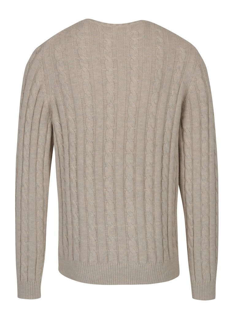 Krémový pletený svetr s příměsí vlny Farah Norfolk