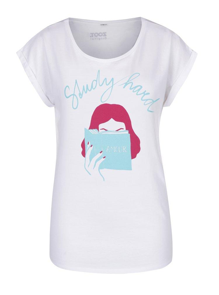 Bílé dámské tričko ZOOT Originál Study hard