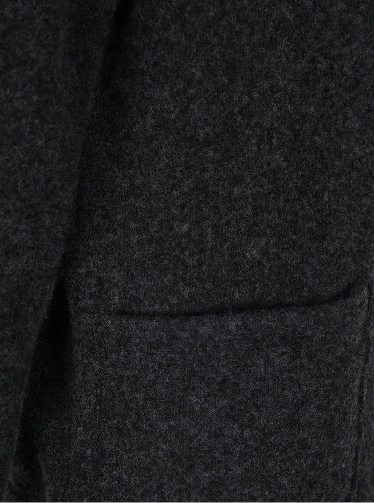 Tmavě šedá vlněná mikina s vysokým límcem DEHA