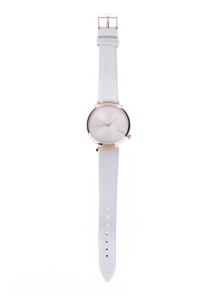Dámské hodinky v růžovozlaté barvě s bílým koženým páskem Komono Estelle Deco