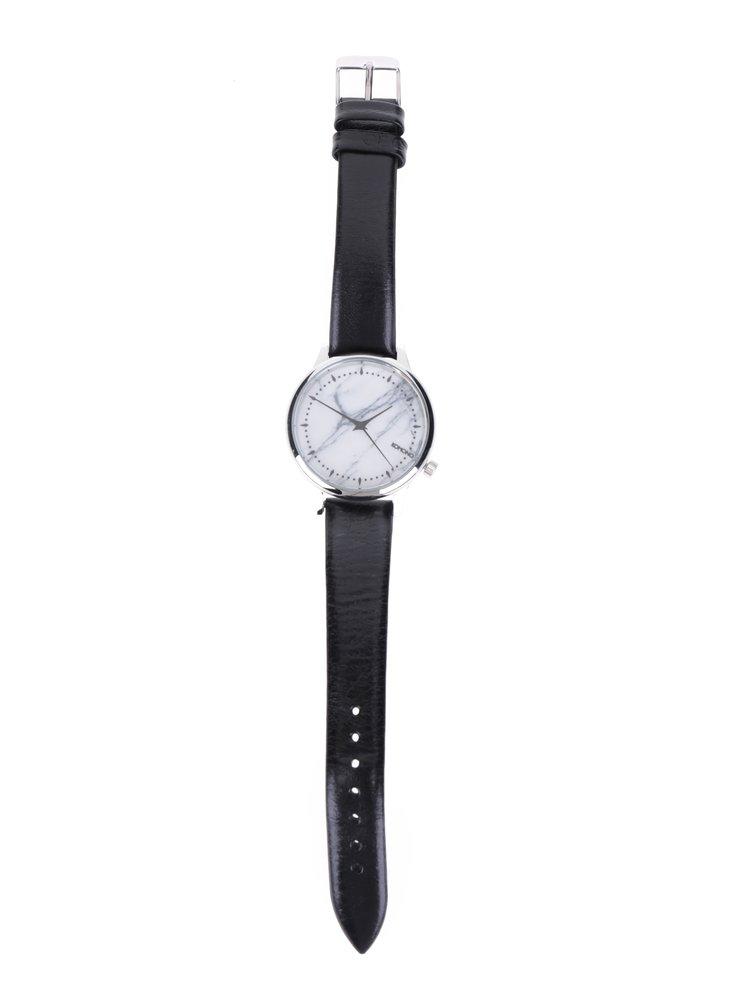 Vzorované dámské hodinky ve stříbrné barvě s černým koženým páskem Komono Estelle Marble