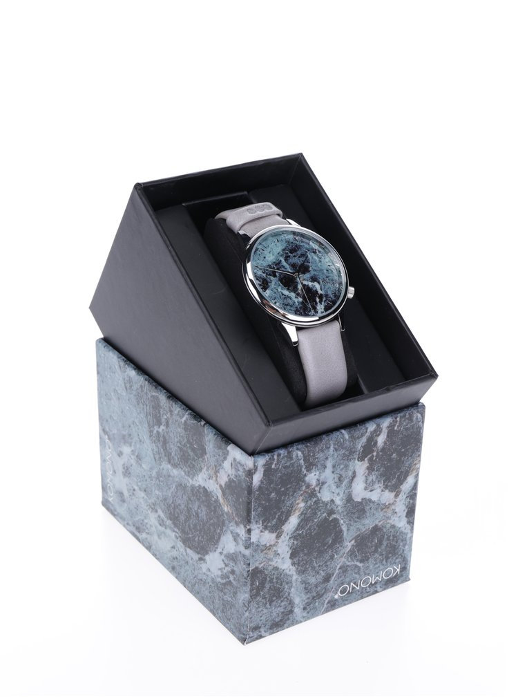 Vzorované dámské hodinky ve stříbrné barvě s šedým koženým páskem Komono Estelle Marble