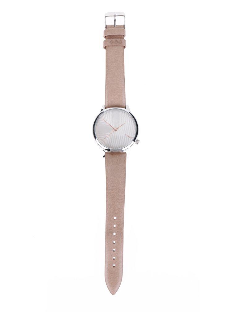 Dámské hodinky s béžovým koženým páskem Komono Estelle Deco
